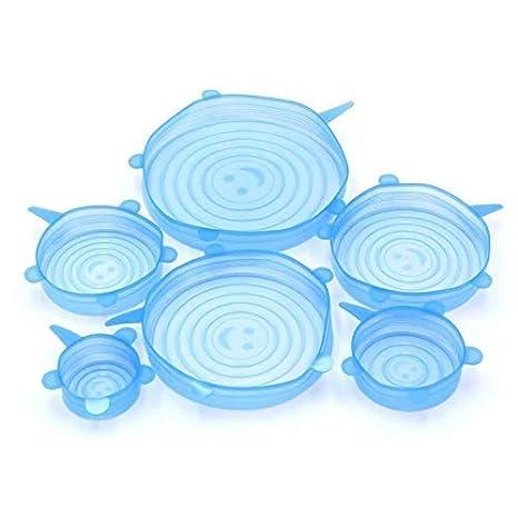 Aeromdale Tapas de Estiramiento de Silicona 6 Paquetes de Varios tama/ños Estiramiento Flexible y Duradero Cubiertas de Ahorro de Alimentos Tapas Azules
