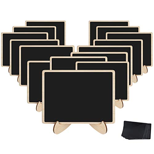 Easy Halloween Party Food Menu (Korlon 15 Pack Mini Chalkboard Signs, Wood Chalk Signs with Easel, with 15 Pcs Replacement Stickers, for Weddings Events, Office, Mini Food Menu)
