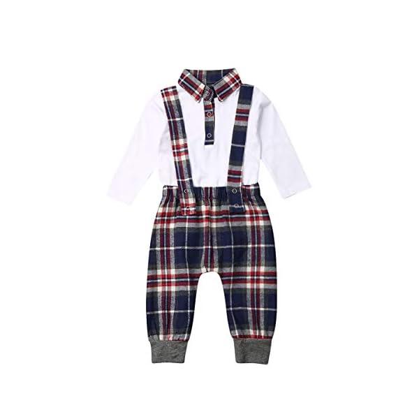 Carolilly 2 Pezzi Completo Neonato Elegante Gentleman Body Pagliaccetto Manica Lunga +Pantaloni con Bretelle Scozzesi… 1