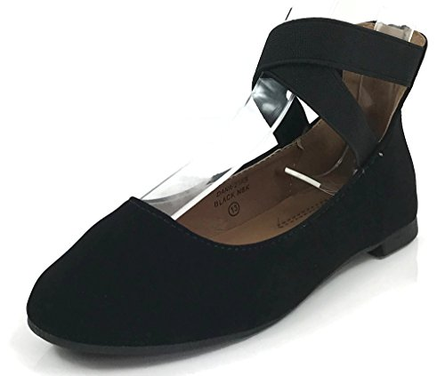 ANNA Girl Kids Dress Ballet Flat Elastic Ankle Strap Faux Suede Shoes Black 9 US Toddler by ANNA