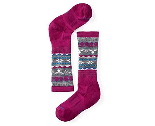 Smartwool Girls' Wintersport Fairisle Moose Socks (Berry) Small