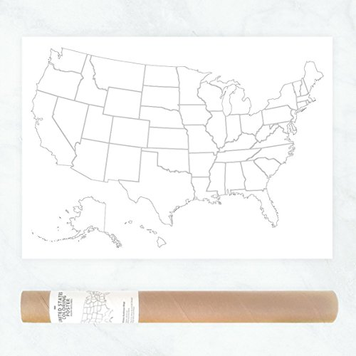 Traditional American Road Trip (Large Coloring Poster with a Plain Outlines Map of USA to Color In Traveled States or Track Sales)