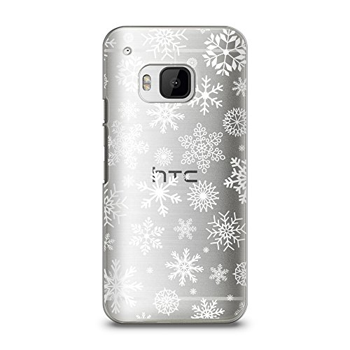 Case for HTC M9, CasesByLorraine Christmas Snowflakes Case XMAS Holiday Matte Transparent Case Plastic Hard Cover for HTC One M9 (P65)