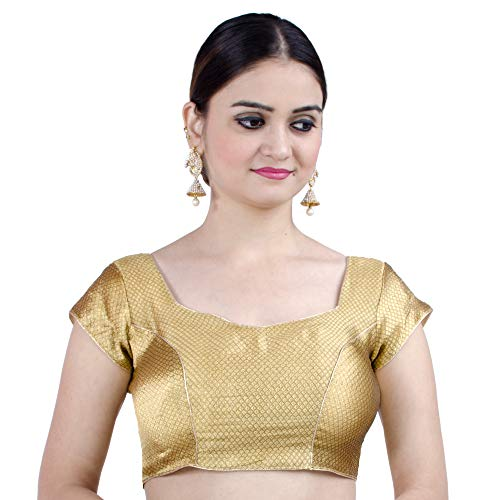 Chandrakala Women's Stretchable Readymade Lycra Copper Indian Ethnic Saree Blouse Crop Top Choli-2X-Large (B106COP6)