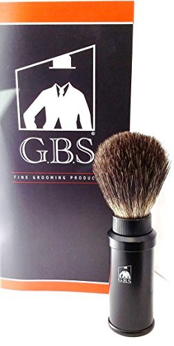 GBS Black Badger Travel Shaving Brush with Metal Cannister by GBS