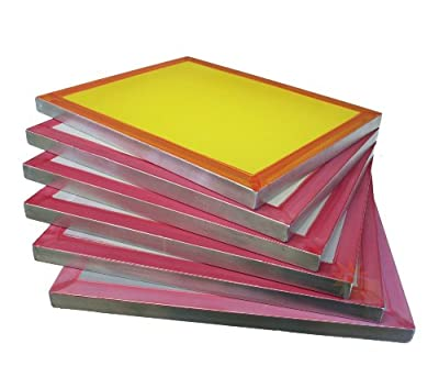 "6-pack 18""x20"" Aluminum Screen Printing Frames w/ 200 tpi Yellow Mesh Pre-stretched"