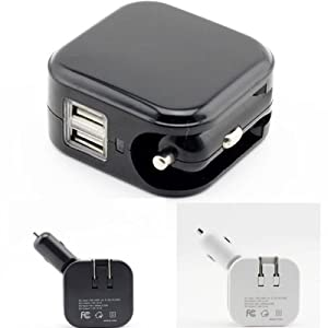 2 in 1 Dual USB Port DC 5V 2.1A Car Charger Power Adapter Home Wall Charge
