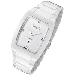 Rougois Men's High-Tech White Ceramic Watch with Genuine Diamonds