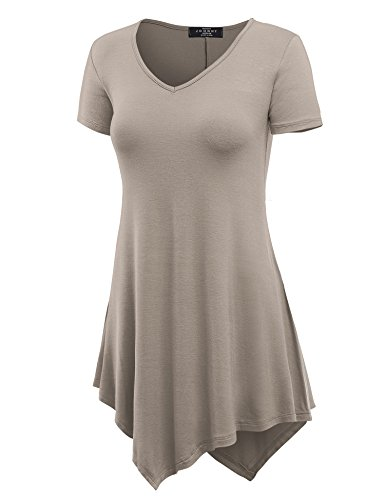 Made By Johnny MBJ WT638 Womens V Neck Asymmetrical Tunic Top M Taupe (Taupe Clothing)