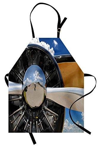 Lunarable Airplane Apron, Propeller and Engine of Airplane Clouds Flight Historic Bird Transportation Theme, Unisex Kitchen Bib Apron with Adjustable Neck for Cooking Baking Gardening, Grey - Propeller Flight