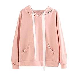 Hoodie for Women,JFLYOU Pink Cute Bunny Ear Long Sleeve Hoodie Sweatshirt Pullover Blouse for Teen Girl