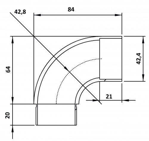 zum Stecken Anschlussbogen 90/° f/ür Rohr 42,4 x 2,0mm