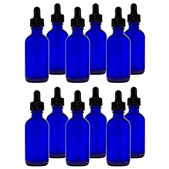 Cobalt Blue Glass Bottles with Droppers 2 Oz - 12 Per Package