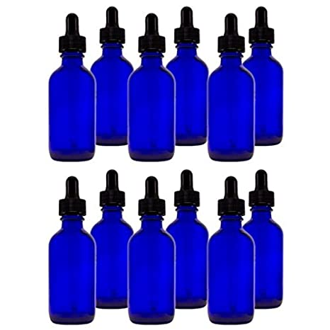 Cobalt Blue Glass Bottle w//dropper 4-oz ea