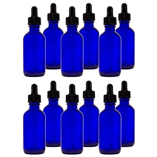 Bottle Package - Cobalt Blue Glass Bottles with Droppers 2 Oz - 12 Per Package