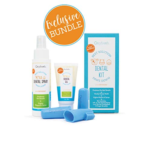 Premium Pet Dental Kit from Oxyfresh: Best Bad Breath Treatment for Dogs & Cats - Easy Safe & Effective Solution - Travel Size - Unflavored Pet Toothpaste, Pet Fingerbrush, and Pet Dental Spray (Best Oral Hygiene Products)