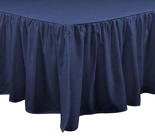 Brielle Essential Bedskirt, Twin, Navy (Beste Brille Fall)