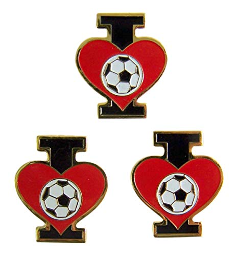 I Love Soccer Heart Lapel Pins, 3/4 Inch, Pack of 3