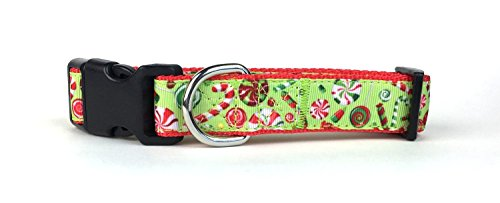 Midlee Large Holiday Candies Nylon Ribbon Dog Collar