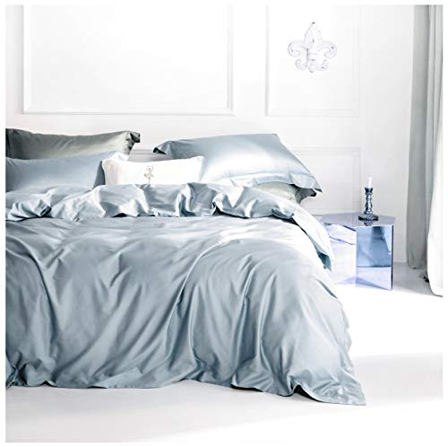 Solid Color Egyptian Cotton Duvet Cover Luxury Bedding Set High Thread Count Long Staple Sateen Weave Silky Soft Breathable Pima Quality Bed Linen (Queen, Fog Blue)