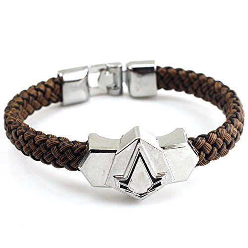 Generic Assassin's Creed Pu Leather & Alloy Wristband Brown Bracelet