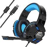 Auriculares para Juegos, USB 7.1 TECKNET Canales de Sonido Envolvente Cascos…