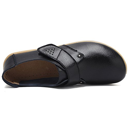Fantiny Flat Shoes On Moccasin 7 Slip Leather Slippers Women's Indoor Genuine Loafers Driving Casual black rqZRr