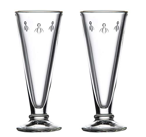 La Rochere Champagne glasses Set of 2 - Napoleon Bee 5 oz Toasting Flute - Clear stemless goblet for Sparkling Wine, Bellini, Mimosa - Great Wedding Engagement party Birthday gift - Durable glassware