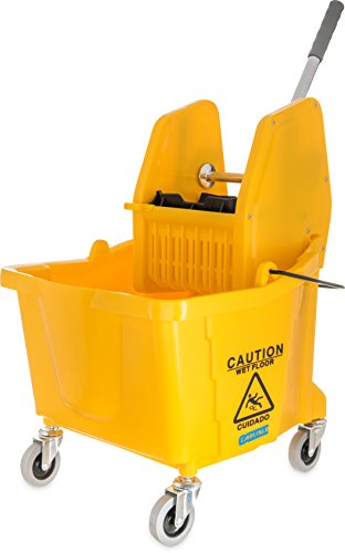 Carlisle 3690504 Commercial Mop Bucket With Down Press Wringer, 35 Quart Capacity, Yellow by Carlisle (Image #3)