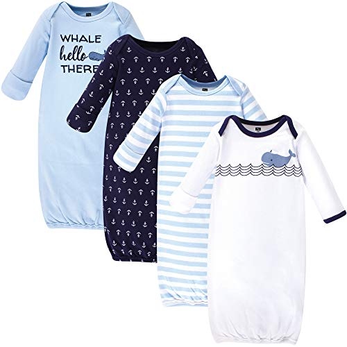 Hudson Baby Unisex Baby Cotton Gowns, Sailor Whale 4-Pack, 0-6 Months