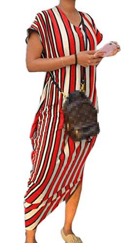 Dress Sleeve Women Party 5 Short Striped Stylish Domple Long Crewneck Irregular 1zH4Www6q