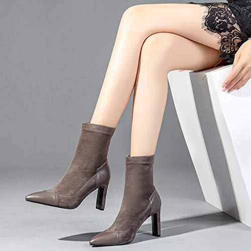 Velvet Brown Tacón 36 Delgadas Marrón Terciopelo El 2018 Zapatos Nuevas Negras color Negro De Feaona Más En Invierno Alto E Con Plus Tamaño Punta Botas Modelos Otoño Estiramiento wpqCnS4O