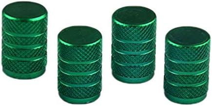 4個パック メタル製 カーホイール タイヤ エアバルブキャップ 軽量 - グリーン