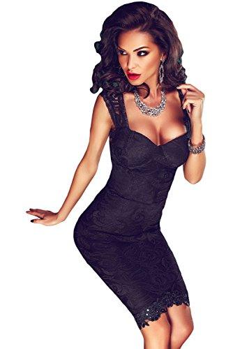 Neue Damen Schwarz aus Spitze Sheer Rückseite Cocktail Club Wear ...