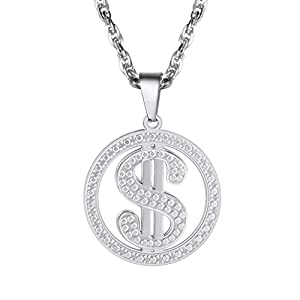 PROSTEEL Dollar Necklace,Vintage Dollar Money Symbol Pendant Necklace,Mens Womens Jewelry