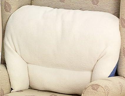Fleece Back Rest Lumbar Support Aid Armchair Cushion Cream One Size