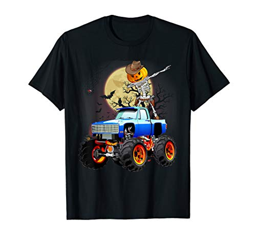 Dabbing Pumpkin Skeleton Riding Monster Truck Halloween Gift T-Shirt