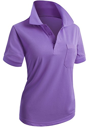 CLOVERY Women's Performance Short Sleeve Basic Polo Shirt Purple US L/Tag L