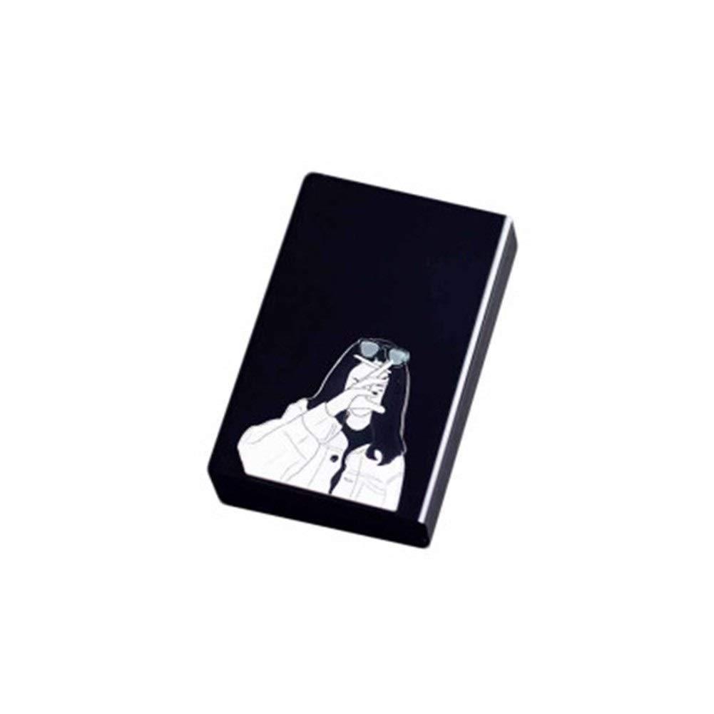 CHENTAOCS Iron Cigarette Case, 20 Cigarette Case, Automatic Cover, Metal Aluminum Alloy Personality Creative Portable, Hard Shell Flip Magnet Cigarette Case, Tide, Smoking Male, Black Cigarette Case H