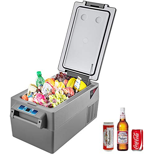 VBENLEM 35L Compressor Portable Small Refrigerator 12/24V DC & 110-240V AC Car Refrigerator/Freezer Vehicle Car Truck RV Boat Mini Electric Cooler for Driving Travel Fishing Outdoor and Home Use