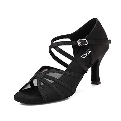 CLEECLI Women's Ballroom Dance Shoes Latin Salsa Dancing Shoes 2.5 inch Heel+Shoes Bag ZB04(8,Black-3 inch Heel)