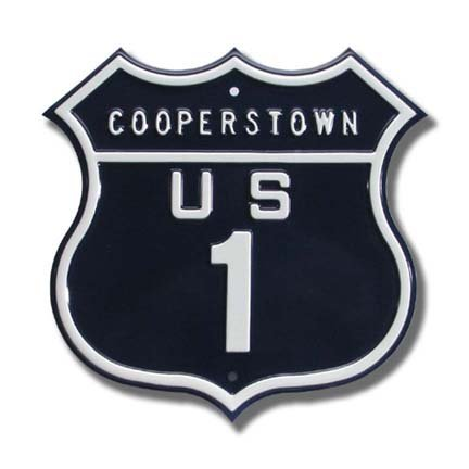 Authentic Street Signs Steel Route Sign: Cooperstown US 1