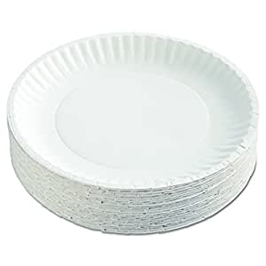 "AJM Packaging Corporation PP9GRAWH Paper Plates, 9"" Diameter, White, 12 Packs of 100 (Case of 1200) (Case of 2400)"