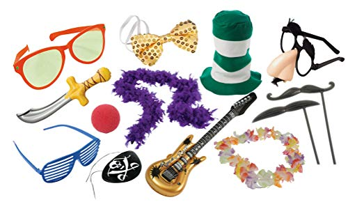 Nikki's Knick Knacks Photo Booth Party Props- 13 Pieces- Glasses, Bow tie, Boa, Guitar Inflate, and More!