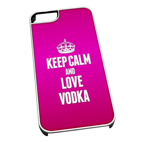 Bianco cover per iPhone 5/5S 1647 Pink Keep Calm and Love Vodka