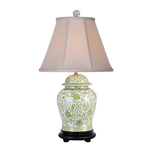 Green and White Floral Pattern Porcelain Temple Jar Table Lamp 29