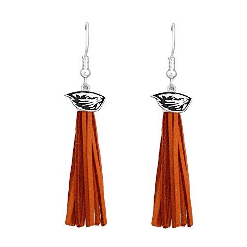 Oregon State Beavers Orange Leather Tassel Silver Charm Earring Jewelry Gift OSU