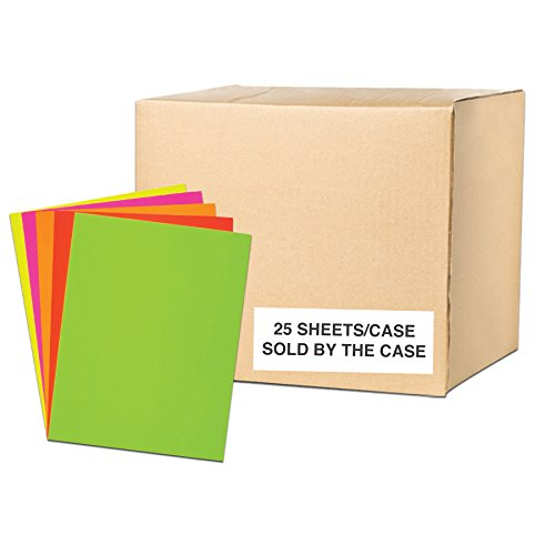 "Assorted Fluorescent Posterboard 22""x28"", Full case of 25 Boards, 16 pt Thickness, 5 ea Yellow, Green, Pink & Red, 1-Sided"