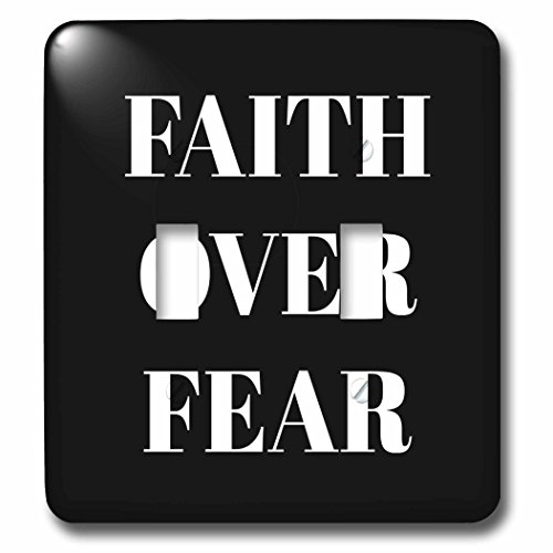 3dRose Xander inspirational quotes - Faith over fear, white letters on a black background - Light Switch Covers - double toggle switch (lsp_265910_2) by 3dRose
