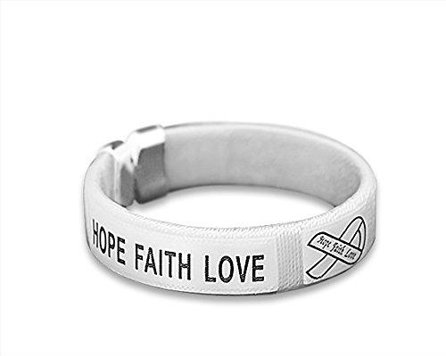 Lung Cancer Awareness White Ribbon Bangle Bracelet (Lung Cancer Awareness Ribbon)